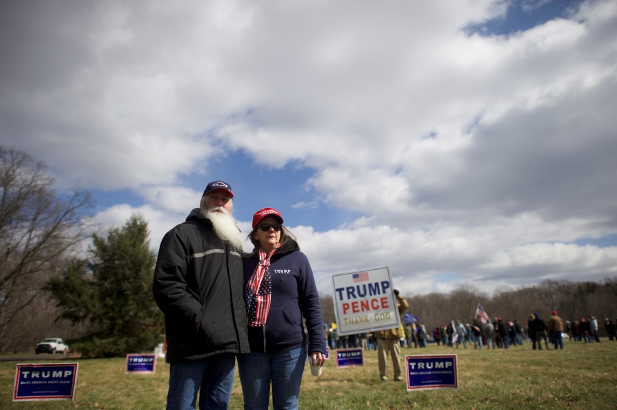 "Donald Trump supporters Ken and Bonnie Sodano pose for a portrait before a ""People 4 Trump"" rally at Neshaminy State Park in Bensalem"