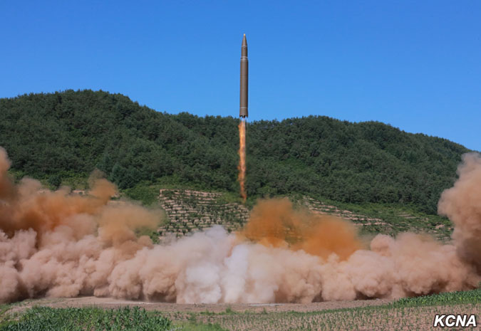 The Hwasong-14 missile is capable of striking inside the United States, and can be launched from a hard-to-detect mobile carrier. (Photo credit: KCNA)