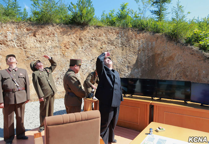 Kim Jong Un watches the launch of the Hwasong-14 missile. (Photo credit: KCNA)