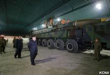 Kim Jong Un inspects the Hwasong-14 missile. (Photo credit: KCNA)